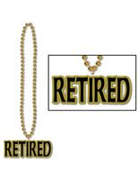 "Retirement Party Wear ""Retired"" Medallion Bead Necklace Image"