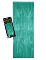 Fifties Decorations Teal Metallic Fringe Curtain Image