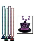 New Years Party Wear Multicolor Happy New Year Top Hat Bead Necklace Image