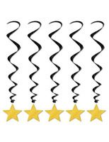 New Years Decorations Gold Star Whirls Image