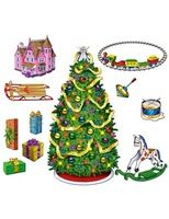 Christmas Decorations Tree & Gift Scene Image