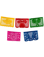 Cinco de Mayo Decorations Medium Plastic Picado Banner - Multicolor Image
