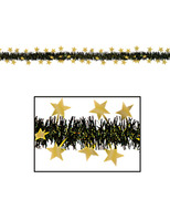 New Years Decorations Black and Gold Metallic Star Garland Image
