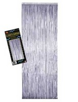 New Years Decorations Silver Metallic Fringe Curtain Image