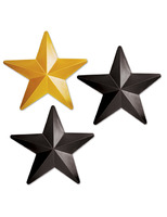 New Years Decorations Black and Gold Plastic Stars Image