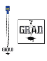 Graduation Party Wear Black Bead Necklace with Grad Medallion Image