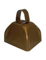 New Years Favors & Prizes Gold Metal Cow Bell Image