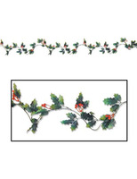 Christmas Decorations Holly & Berry Garland Image