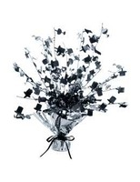 New Years Decorations Black and Silver Champagne Glass & Top Hat Centerpiece Image