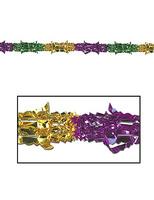 "Mardi Gras Decorations 9'x8"" Green-Gold-Purple Metallic Garland Image"