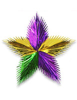 "Mardi Gras Decorations 24"" Green, Gold, Purple Leaf Starburst Image"