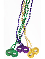 Mardi Gras Party Wear Glittered Mask Bead Necklaces Image