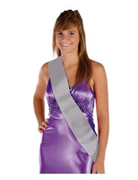 Party Wear Silver Satin Sash Image