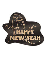 New Years Decorations Glittered Black and Gold Happy New Year Sign Image