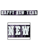 New Years Decorations Giant Black and White New Year Banner Image