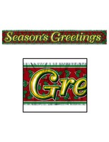 Christmas Decorations Metallic Season's Greetings Banner Image