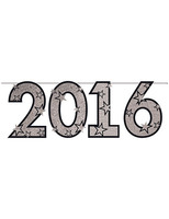 New Years Decorations Silver Glitter 2016 Streamer Image