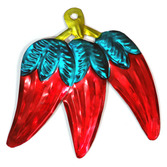 Cinco de Mayo Decorations  Red Three Pepper Tin Ornament Image