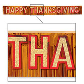 Thanksgiving Decorations Metallic Happy Thanksgiving Banner Image