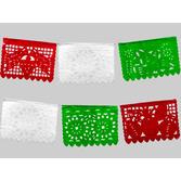 Cinco de Mayo Decorations Small Red, White, Green Plastic Picado Banner Image