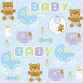 Baby Shower Table Accessories Teddy Baby Blue Beverage Napkins Image