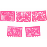 Cinco de Mayo Decorations Large Hot Pink Papel Picado Image