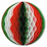 """Fiesta Decorations 19"""" Red-White-Green Tissue Ball Image"""