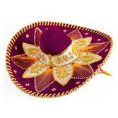 Cinco de Mayo Hats & Headwear Burgundy and Gold Mariachi Sombrero Image