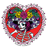 Day of the Dead Favors & Prizes Flower Hat Sugar Skull Sticker Image