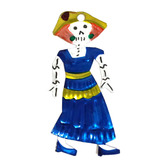Day of the Dead Decorations Dama w/ Blue Dress Tin Ornament Image