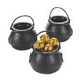 Halloween Favors & Prizes Plastic Black Candy Kettles Image