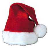 Christmas Hats & Headwear Velvet Santa Hat with Plush Trim Image