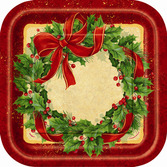 Christmas Table Accessories Ribbon Wreath 9in Plates Image