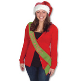 "Christmas Party Wear ""Santa's Helper"" Satin Sash Image"