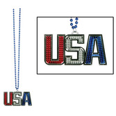 4th of July Party Wear USA Medallion Bead Necklace Image
