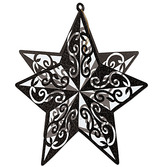 New Years Decorations Black 3D Glitter Star Centerpiece Image