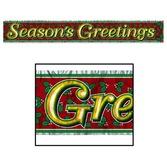 Christmas Decorations Metallic Season's Greetings Banner Image