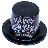 New Years Hats & Headwear Black and Silver Happy New Year Top Hat Image