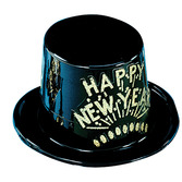 New Years Hats & Headwear Black and Gold Happy New Year Top Hat Image