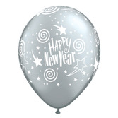 New Years Balloons Silver Stars Happy New Year Balloons Image