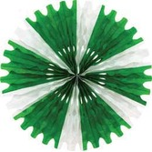St. Patrick's Day Decorations Green-White Tissue Fan Image