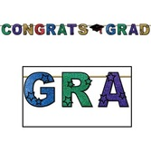 Graduation Decorations Glittered Congrats Grad Streamer Image