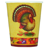 Thanksgiving Table Accessories Festive Turkey 9oz Cups Image