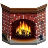 Christmas Decorations Brick Fire Place Stand Up Image