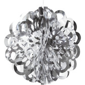 """New Years Decorations 16"""" Silver Foil Ball Image"""