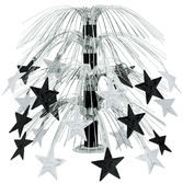 New Years Decorations Black and Silver Star Cascade Centerpiece Image