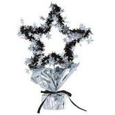 New Years Decorations Star Shape Centerpiece Black-Silver Image