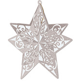 New Years Decorations Silver 3D Glitter Star Centerpiece Image