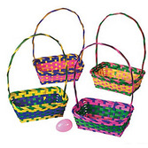 Easter Favors & Prizes Multicolor Bamboo Basket Image