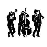 Mardi Gras Decorations Jazz Trio Silhouettes Image